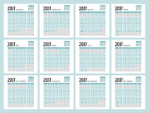 2017 Planner Design. 2017  Calendar Planner Design of illustrator Stock Photo