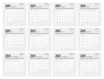 2017 Planner Design. 2017  Calendar Planner Design of illustrator Royalty Free Stock Photo