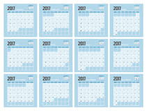 2017 Planner Design. 2017  Calendar Planner Design of illustrator Royalty Free Stock Images