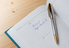 Daily planner with the entry Medical appointment Royalty Free Stock Images