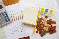 Planner and money Stock Images