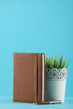 Planner notebook in blue pastel background Stock Image