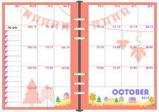 Daily Planner October 2017. Calendar Daily Planner Template for Monthly October 2017. Note Paper format A-5 with Vector. Organizer and Schedule with place for Royalty Free Stock Images