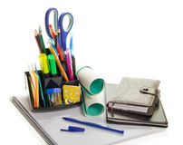 Daily planner, office supply, and the notepad Stock Images