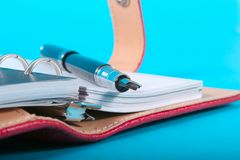 Planner and Pen Stock Image