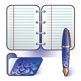 Planner pen folder blue set Stock Image