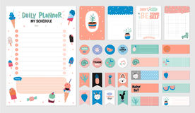 Planner set 2. Scandinavian Weekly and Daily Planner Template. Organizer and Schedule with Notes and To Do List. Vector. . Trendy Holiday Summer Concept with stock illustration