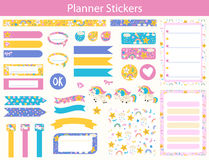 Planner stickers with cute Unicorn. Set of planner stickers with cute Unicorn, rainbow and star In simple kids cartoon style. Weekly Planner pages royalty free illustration
