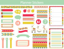 Planner stickers with lama and Aztec patterns. Collection of planner stickers with cute lama and the Aztec patterns In simple kids cartoon style. Weekly Planner Stock Photo