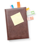 Planner with sticky note Stock Image