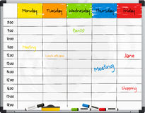 Planner template on whiteboard with color marker pens. Vector. Royalty Free Stock Photography