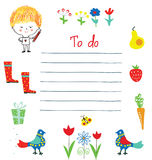 Planner or to do list for the kids with funny design royalty free illustration