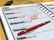 Planner Vote. Digital illustration of Vote reminder in a daily planner Royalty Free Stock Photography