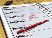 Planner Vote. Digital illustration of Vote reminder in a daily planner stock illustration