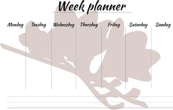 Week planner with a flower. Planner for a week to the day, image of pink flower on a white background. vector illustration of blank. speakers by days of the week Royalty Free Stock Photo