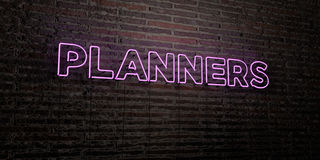 PLANNERS -Realistic Neon Sign on Brick Wall background - 3D rendered royalty free stock image Royalty Free Stock Photography