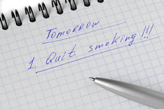 Plannig the quit smoking Stock Photos