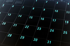 Planning. Black and blue calendar with dates numbers Royalty Free Stock Images