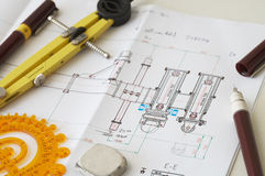 Planning. Engineering drawing on drawing desk with rulers and pencils Royalty Free Stock Photography