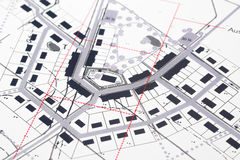 Planning. Architectural Drawings in computer aided early and geometrical CAD style with black and some red ink royalty free stock photo