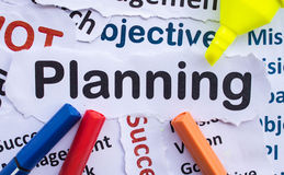 Planning Banner. Text `Planning`,paper cut Royalty Free Stock Image