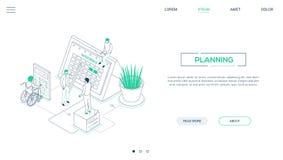 Planning - banner van het de stijl de isometrische Web van het lijnontwerp stock illustratie