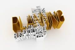 Planning, bedrijfssleutelwoord en woordenwolk Voor webpagina, grafisch ontwerp, textuur of achtergrond het 3d teruggeven royalty-vrije illustratie