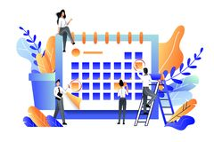 Planning, beheer, uiterste termijn en tijdbeheers bedrijfsconcept Vector vlakke illustratie royalty-vrije illustratie