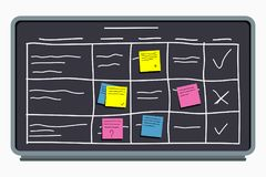 Planning board with sticky notes. Task board with table scheme and office schedule. Vector Stock Photo
