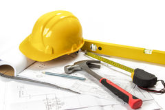 Planning and building. Working equipement and project isolated on white background Stock Images