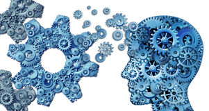 Planning A business. Using intelligent leadership strategies as a human head shape made with with gears and cogs building an organization symbol shaped as large Stock Image
