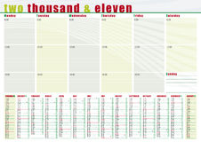 Planning calendar 2011 in english Stock Photos