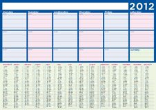 Planning Calendar 2012 in english Royalty Free Stock Photos