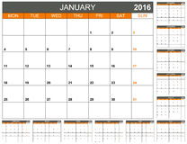 Planning calendar 2016 Stock Photos