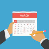 Planning calendar in hand. stock illustration
