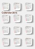 Planning calendar 2016 portrait Royalty Free Stock Photography