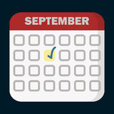 Planning calendar September flat icon. Vector sign, colorful pictogram isolated on black. Symbol, logo illustration. Flat style design Stock Photos