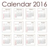 Planning calendar 2016. Simple planning calendar 2016 individual months can be separated the ingested separately Stock Photography