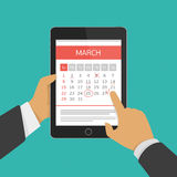 Planning calendar in tablet. stock illustration