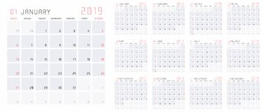 Planning calendar template 2019 vector illustration