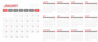 Planning calendar template 2019 royalty free illustration