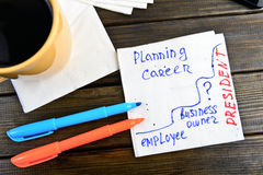Planning career think positive -  handwriting on a napkin Royalty Free Stock Photography