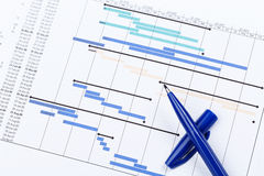 Planning Chart for Financial Project. Wirh blue pen Royalty Free Stock Image