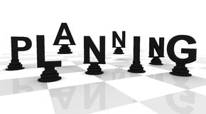 Planning Chess black white. Planning Chess 3D font black white Royalty Free Stock Photo