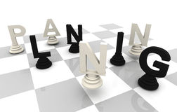 Planning Chess black white. Planning Chess 3D font black white Stock Images