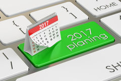 2017 planning concept on the keyboard, 3D rendering Royalty Free Stock Photos