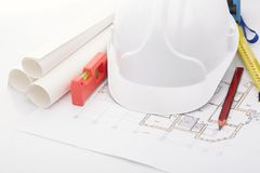 Planning of construction of the house. Royalty Free Stock Photography