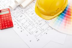 Planning of construction of the house. Royalty Free Stock Photo