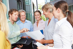 Planning and cooperation during business team meeting Royalty Free Stock Photos
