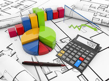 Planning costs on real state project Royalty Free Stock Photo